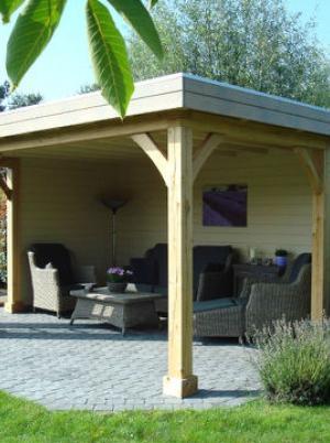 prieeltje plat dak eik landelijk cottage