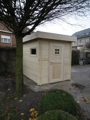 compact tuinhuis plat dak (nog onbehandeld hout) Gestel
