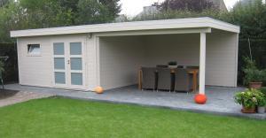 Blokhut plat dak met terras